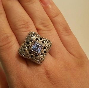 Jewelry - Edwardian sterling filagree & aqua marine ring